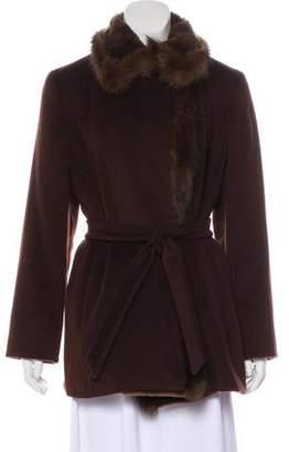 Max Mara Fur-Trimmed Virgin Wool Coat