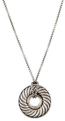 David Yurman Diamond Large Sculpted Cable Disc Pendant Necklace