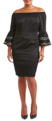 3fd5e1dc6a2 Paperdoll Women s Plus Size Off Shoulder Lace Pieced Bell Sleeve Dress