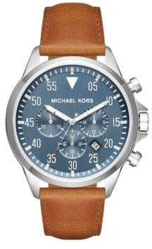 Michael Kors Gage Stainless Steel& Leather Chronograph Watch