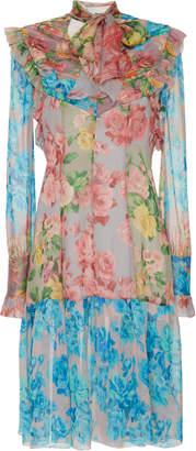 Blumarine Floral Print Midi Dress