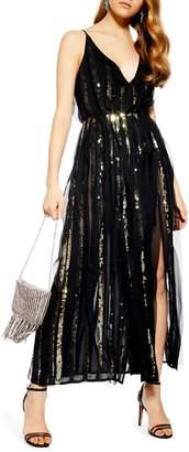 536070d6b2 Topshop Sequin Stripe Chiffon Maxi Dress