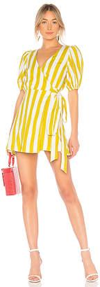 LPA Wrap Dress With Puff Sleeve