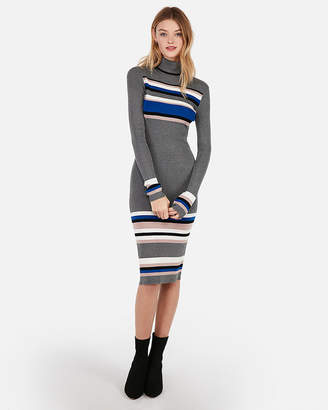Express Striped Ribbed Fitted Turtleneck Midi Sweater Dress