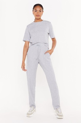 Nasty Gal Womens Hiding From My Responsibilities Tee And Jogger Set - Grey - 4