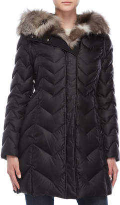 Dawn Levy Real Fur Trim Chevron Quilted Coat