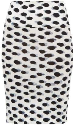 3914c765e3f4de Norma Kamali Watercolour Polka Dot Jersey Pencil Skirt - Womens - White  Black
