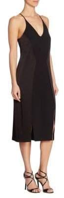 Halston Solid V-Neck Dress