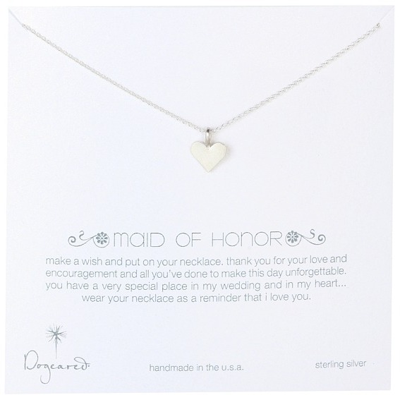 Dogeared Bridal Maid of Honor Perfect Heart Necklace (Sterling Silver) - Jewelry