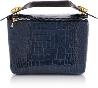 Sophie Hulme Blue Canard Croco-Embossed Leather Bolt Small Saddle Bag