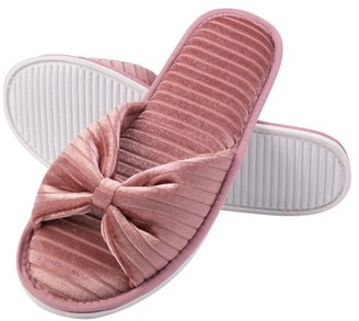 Royal Velvet AERUSI Cozy Women's Plush Bow Memory Foam Slippers With No-Slip Rubber Sole And Arch Support For Indoor Or Outdoor Daily Use