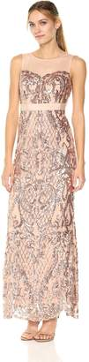 Adrianna Papell Women's Sequin Mermaid Dress Illusion Neckline