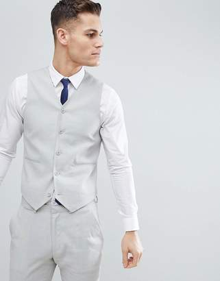 Asos DESIGN Wedding Super Skinny Suit Vest In Ice Gray Linen