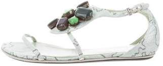 Prada Jewel Embellished Brocade Sandals