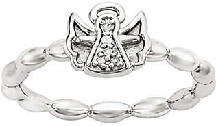 Simply Stacks Sterling Diamond Accent Angel Beaded Ring
