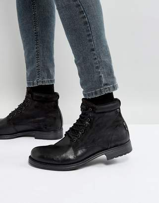 Jack and Jones Justin Leather Mix Lace Up Boots