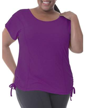 Fruit of the Loom Fit for Me by Women's Plus-Size Crossback Drawstring Mesh Top