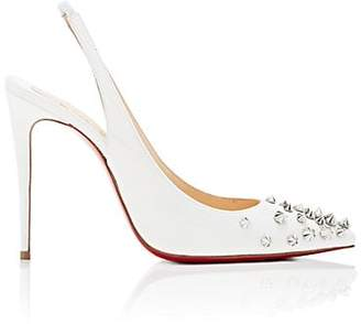 Christian Louboutin Women's Drama Sling Patent Leather Pumps - Latte, Silver