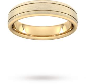 5mm Flat Court Heavy Matt Finish With Double Grooves Wedding Ring In 9 Carat Yellow Gold