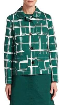 Marni Women's Drill Check-Print Jacket - Green - Size 38 (2)