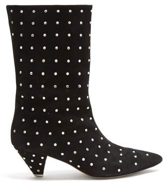 Attico - Crystal Embellished Calf Length Boots - Womens - Black