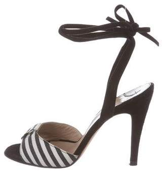 Manolo Blahnik Striped Wrap-Around Sandals