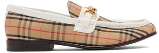 Burberry Moorley Checked Loafers - Womens - White Multi