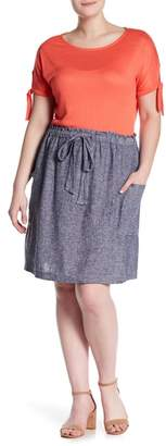 Susina Yarn Dye Linen Drawstring Skirt (Plus Size)