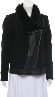 Helmut Lang Shearling-Trimmed Wool Jacket