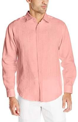 Cubavera Men's Long Sleeve 100% Linen Essential Shirt with Eyelet Detail