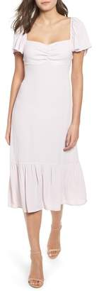 Leith Flutter Sleeve Portrait Midi Dress