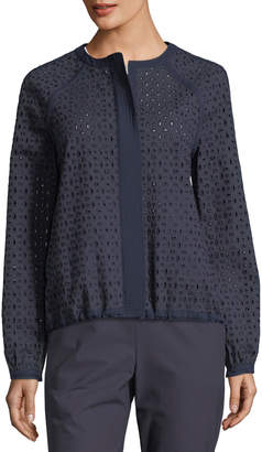 St. John Twill Eyelet Hidden-Zip Jacket