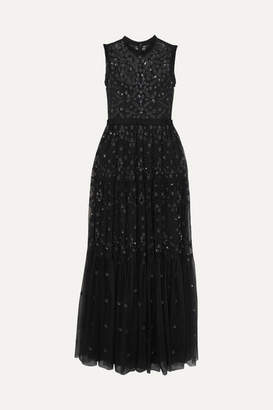 Needle & Thread Clover Sequined Embroidered Tulle Gown - Charcoal