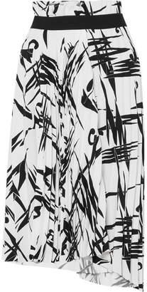 Balenciaga Asymmetric Pleated Printed Cady Midi Skirt - Black