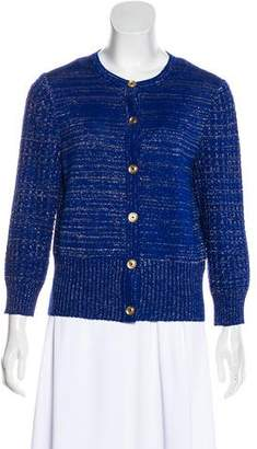 St. John Wool-Blend Metallic Cardigan