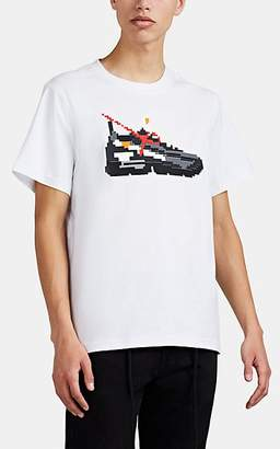 Mostly Heard Rarely Seen 8-Bit Men's Sneaker-Graphic Cotton T-Shirt - White