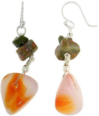 """Sabrina Silver Sterling Silver French Ear Wire Dangle Earrings, w/ Natural Carnelian & Unakite Stones, 1 7/8"""" (48mm) tall"""
