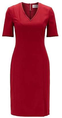HUGO BOSS Short-sleeved dress in stretch virgin wool with V-neck