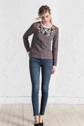 Lilla P Embroidered Neck Sweatshirt