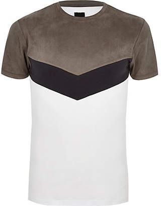 River Island Grey faux suede muscle fit chevron T-shirt