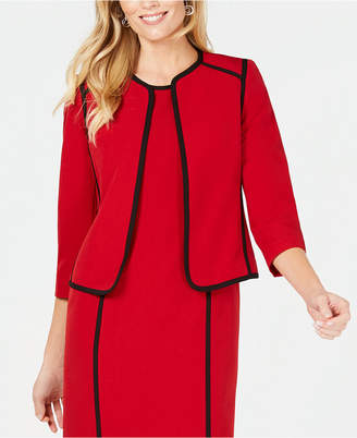 Kasper Petite Collarless Piped-Trim Jacket