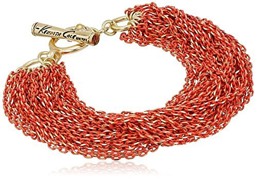 "Kenneth Cole New York ""Modern Clementine"" Coral and Gold Diamond Cut Multi-Chain Toggle Bracelet, 7.5"""