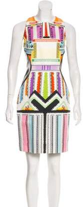 Mary Katrantzou Graphic Print Leather-Accented Dress