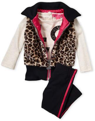 Betsey Johnson Infant Girls) Leopard Print Vest, Tee & Legging Set