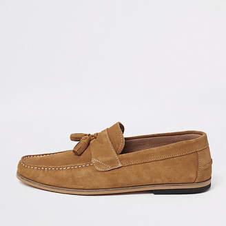 River Island Light brown suede tassel loafers