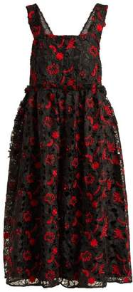 Shrimps - Lucia Floral Guipure Lace Midi Dress - Womens - Black Red