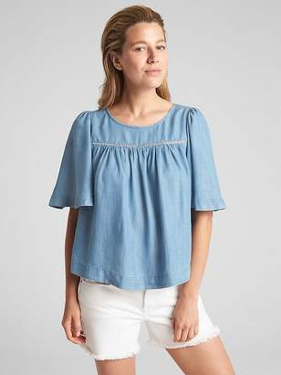 Gap Flutter Sleeve Smock Top in TENCEL