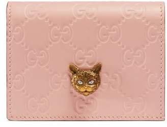 Gucci Signature card case with cat