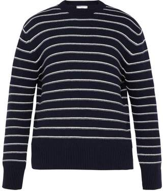 Ami Striped Relaxed Fit Sweater - Mens - Blue Multi