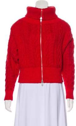 Self-Portrait Zip-Up Cable Knit Sweater